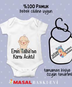 Emin Talha Nın Karnı Acıktı Yazılı Bebek Zıbını Önlük Seti