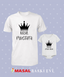 Kral Prens Yazılı Tişört Ve Bebek Zıbını Kombini